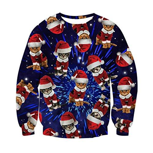Chicolife Herren Damen schöne Pullover Santa Baby Katzen Party gedruckt für Teen jungen Mädchen Pullover Sweatshirt Navy XL