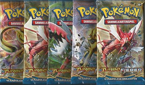 Pokemon XY09 Turbofieber - 5 Booster Packungen - Deutsche Ausgabe