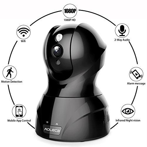 Aoleca videocamera di sorveglianza 1080p hd telecamera ip full security camera wifi onvif casa monitor videosorveglianza cam con visione notturna pan / tilt audio bidirezionale motion detection