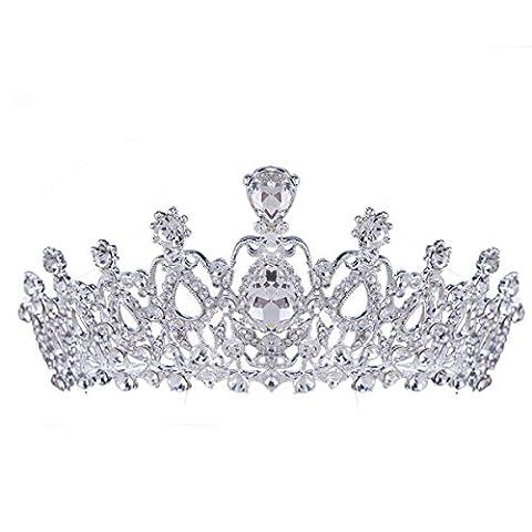 Santfe Crystal Tiara Crowns Hair Jewelry Rhinestone Wedding Pageant Bridal Princess Headband