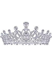Santfe La boda de novia corona Tiara plata de imitación de cristal y pedrería brillante