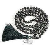 CrystalTears 108 Perlen mala Lavasteine Kette Wickelarmband Tibetische Buddhistische gebetskette Armband Meditations Stein Perlenarmband Halskette mit Yoga OM Anhänger