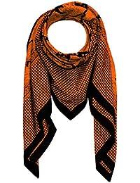 Lorenzo Cana Italian Scarf Pashmina Silk Cotton Shawl 43'' x 43'' Paisley Houndstooth Black Orange 8912511