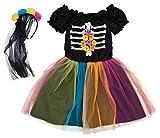 Pepperts Mädchen Kostüm Halloween Kleid Gerippe Skelett bunt schwarz Haarreifen Schleier (104/110)