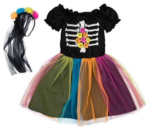 Kostüm Halloween Krippe Kleid - Pepperts Mädchen Kostüm Halloween Kleid Gerippe Skelett bunt schwarz Haarreifen Schleier (104/110)