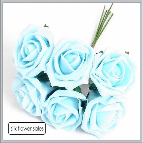Foam roses 4 mazzetti di rose in spugna, per asole, motivo: bouquet, colore: azzurro