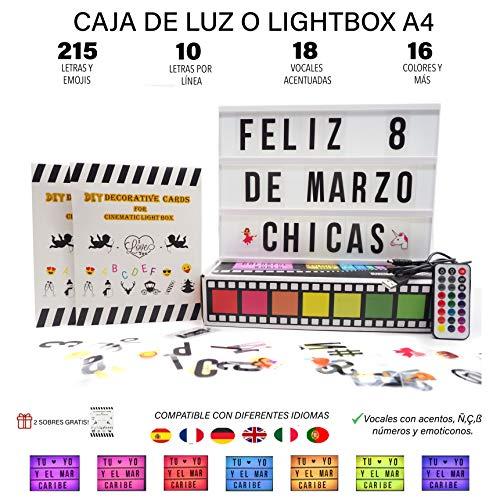 Caja luz A4 MULTICOLOR 215 tarjetas.10 láminas fila