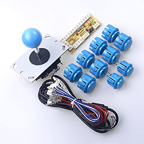 Reyann Ritardo zero Arcade Game fai da te Parts Kit 1 x USB del PC Encoder + 1 x 8 Way Joystick + 10 x pulsante Arcade per Raspberry Pi 1 2 3 Retropie & PC USB MAME gabinetto fai da te Progetti Colore: Blu