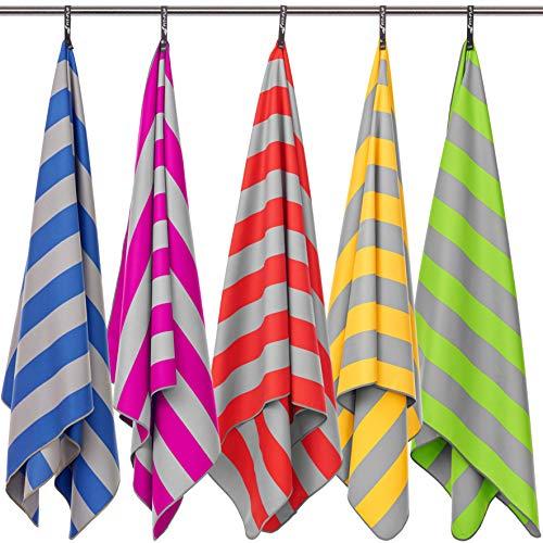Fit-Flip Strandhandtuch XXL 200x100cm / Gelb - Grau gestreift- große badetücher, Strandtuch sandfrei, bade handtücher groß, bade Handtuch Gross