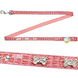 Me & My Pets - Hundeleine mit Strass - in Kroko-Optik - rosa