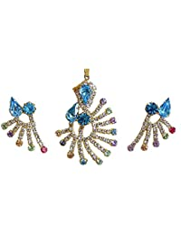 DollsofIndia Cyan And White Zirconia Stone Studded And Gold Plated Designer Pendant And Earrings - Stone And Metal...