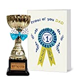 Tied Ribbons Anniversary Special Gift for Dad Golden Trophy with Greeting Card