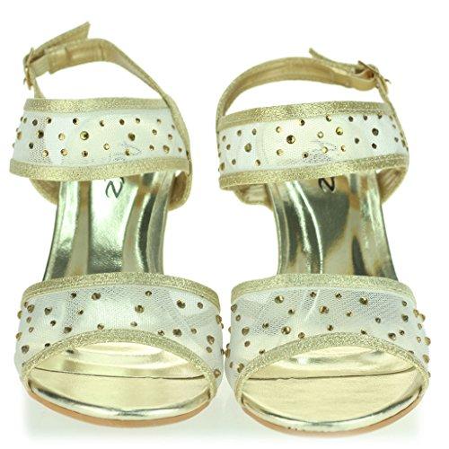 Femmes Dames Talon compensé Diamante Détail Slingback Été Soir Fête Mariage Bal de Promo De Mariée Des Sandales Chaussures Taille Or