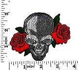 Rojo Rosa Cráneo Fantasma Zombie Lady motorista Rider para moto y para planchar parche bordado a mano coser símbolo chaqueta camiseta parches apliques accesorios