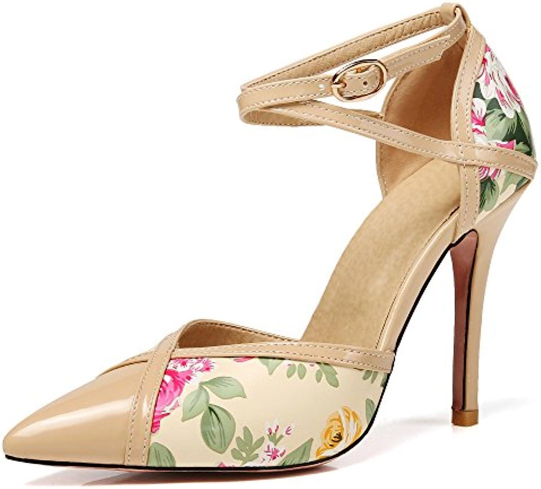 donna Mid Tacco Tacco Tacco Alto Stampa Fiori Sandali Court Punta A Punta Stiletto Ladies Crossover Strap scarpe | Shopping Online  2834f2