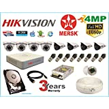 Hikvision 8 Ch Turbo HD Dvr & Mersk Full HD (4MP) CCTV Camera Kit with All Required Accessories (2 TB Hard Disk) Note : No Installation Service