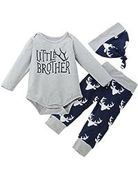 chshe Baby Boy 3pc ropa recién nacido bebé mezcla de algodón impreso
