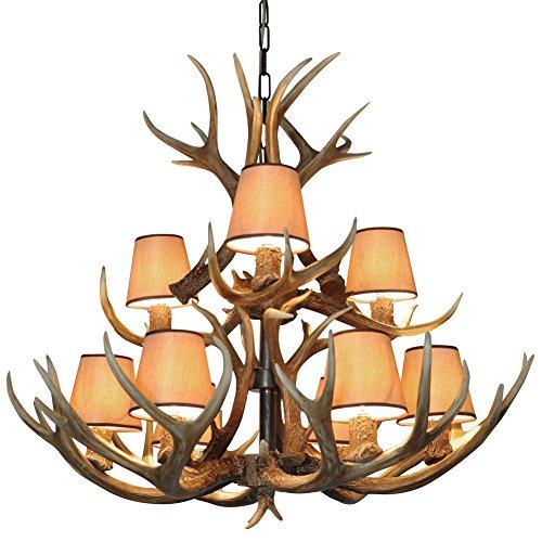 Lámpara shengdi cuerno de ciervo 9-luz Plancha Industrial de la lámpara de la vendimia del accesorio del techo de Iluminación en restaurante Balcón dormitorio con pantalla de lámpara 1017C-9-2es (Coffee)