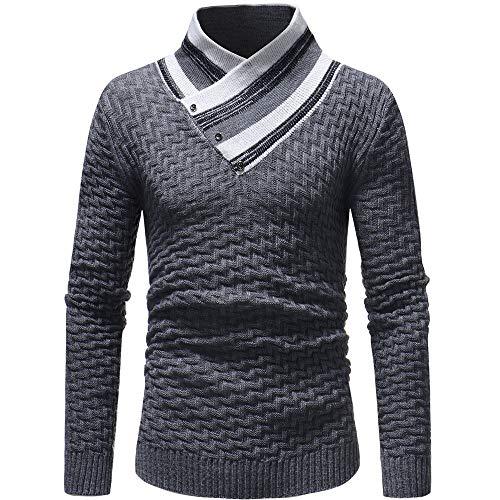 Herren Strickpullover,TWBB Herbst Hoher Kragen Pullover Vintage Oberteile Schlank Sweatshirt Tether Lange Ärmel Shirt