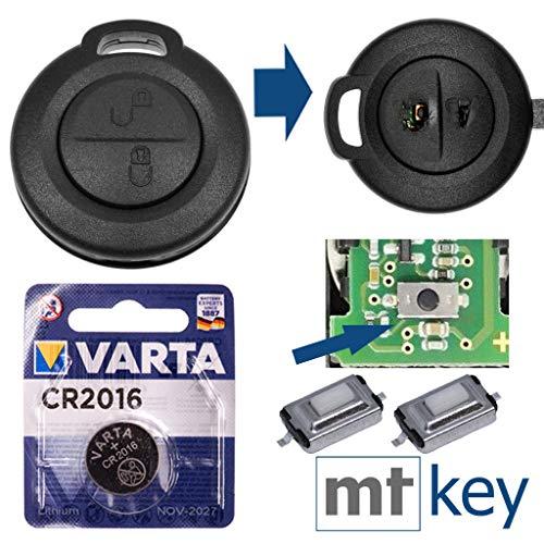 Mitsubishi Repair - Kit di riparazione per chiave auto, alloggiamento con 2 tasti + pulsanti di pressione + batteria per Mitsubishi Colt Smart 454 Forfour