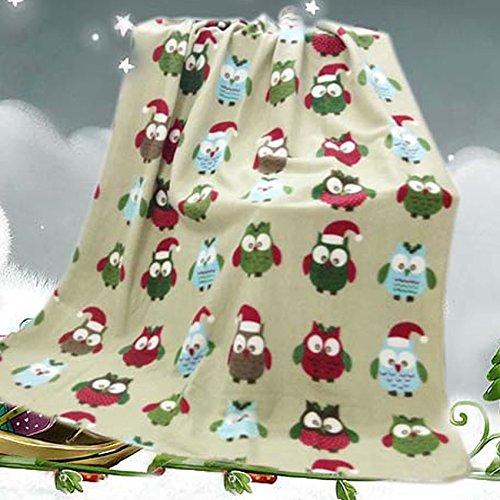 Navidad Búhos manta de forro polar