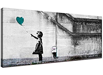 Cheap Teal Canvas Wall Art of Banksy Balloon Girl - 1220 - Wallfillers®