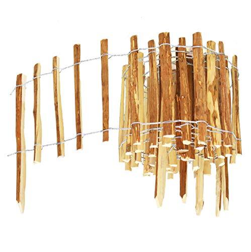 BOGATECO Haselnuss Roll-Steckzaun aus Holz | 60cm Hoch & 500cm Lang | Holz-Zaun | Lattenabstand 7-8cm | Staketenzaun Perfekt als Beet-Umrandung oder Weg-Abgrenzung