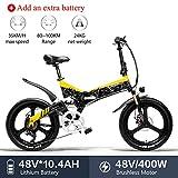LANKELEISI G650 vélo électrique 20 * 2.4 Gros Pneu vélo Montagne Adulte Pliant vélo électrique de Ville 400w 48v LG Batterie au Lithium Shimano 7 Vitesse ebike (Jaune + 1 Extra 10.4ah Batterie)