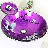 Lavabo de salle de bain - Homelava moderne Lavabo Violet rond Dessus en verre Lavage...