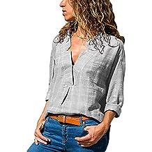 1ee3ce07480f OSYARD Damen Baumwolle Leinen Sweatshirt Tops Bluse, Fashion Women V Neck  LangäRmeliges Baumwoll Leinen T