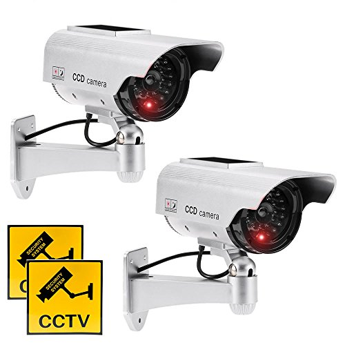 JUSTOP Twin Pack Dummy CCTV Camera Outdoor / Indoor Waterproof With Reality LED Light Solar Or Battery Powered – Silver