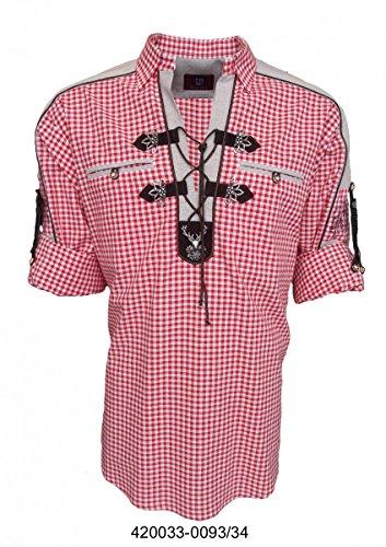 Trachtenhemd für Lederhosen mit Verzierung mittelrot, Hemdgröße:S