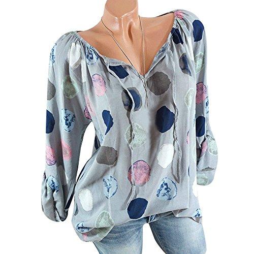 Wenyujh' Damen Bluse Retro Tunika Oversize Knopfleiste Langarm Oberteil Top Baumwolle Locker Elegant Shirt Tshirt Mode Sommer