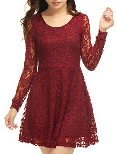 allegra-k-mujer-vestido-skater-ajustado-de-encaje-de-manga-larga-cuello-redondo-rojo-m