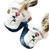 Ba Zha HEI New Mode Frauen Freund Buchstaben Rose Gedruckt T Shirts Best Friends Sister Damen T-Shirt Aufdruck Mädchen Sommer Oberteile Top Mode Sehr Angenehm zu Tragen BluseTops (Pink, M)