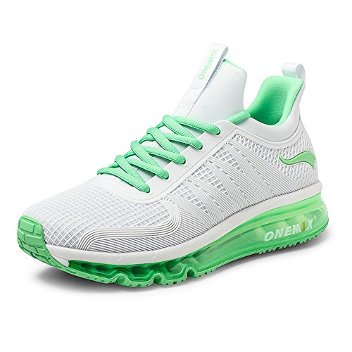 ONEMIX Homme Femme Air Chaussures Gym One-Piece Damping Cushion Baskets Mixte Adulte Blanc Vert