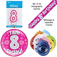 8th Birthday Party Set Age 8 Girls (Banner Balloons, Candle, Badge)