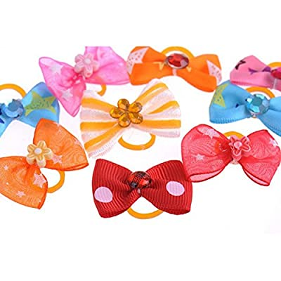 Homgaty 50Pcs Pet Hair Bows Tie Dog Rubber Bands Hair Grooming Accessories from Homgaty