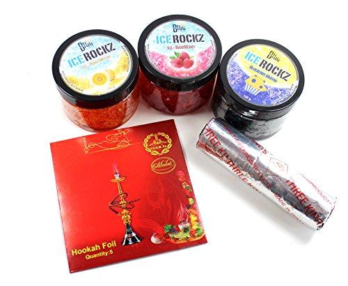 BIGG Ice Rockz Mixed Pack - 3 Sorten (Ice-Honigmelone, Ice-Himbeere, Blaubeere-Muffin & 1 Rolle Three Kings Shisha Kohle 33mm und Malas Deluxe Folie (5 Stück) KOGU Set