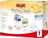 NUK 10225079 - First Choice Perfect Start Set mit je 2 Anti-Colic Weithalsflaschen 150 ml und 300 ml  2 Silikon Anti-Colic Flaschensauger Gr. 1 M, 1 Silikon Beruhigungssauger Gr. 1, 1 Flaschenbürste