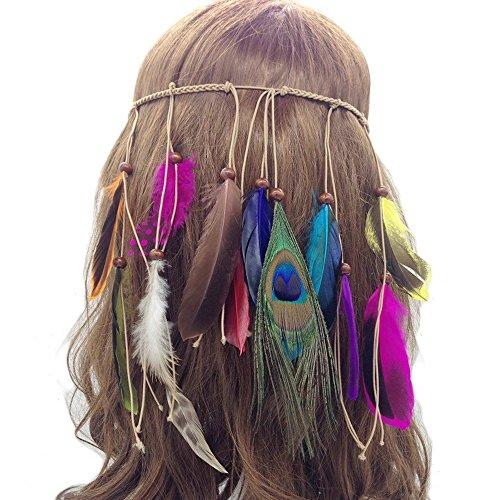 our fantasy time Einzigartige Feder Stirnband, Indianer Style, Hippie Boho kopfschmuck, Baumwollgarn Flechten Haarband mit wild Feder und Holz Perlen, Damen Haarschmuck, sehr schöne Accessoire für Fasching, Karneval, Halloween party, Maskerade usw.