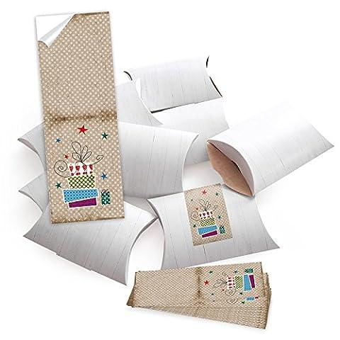 10 kleine Geschenkschachteln Geschenk-Boxen Kartons, weiß (14,5 x 10,5 + 3 cm Höhe) mit Weihnachts-Aufkleber Banderole Geschenke in vintage blau rot beige gepunktet selber basteln und befüllen