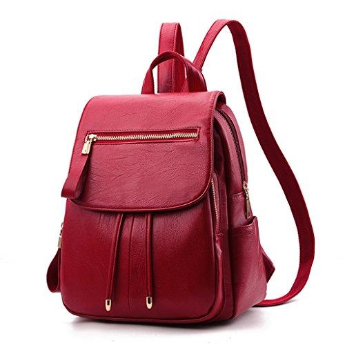 Vêtements-YUE Sac à Dos de vin Rouge des Femmes Simple Joker Mode  décontractée Sac 11d53348220