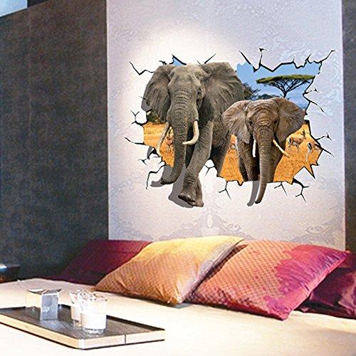 ZHFCLos elefantes pegatinas de pared 3D Home Decor sticker para niños habitaciones...