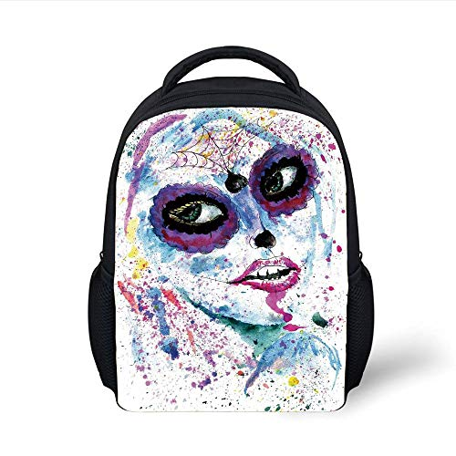 Kids School Backpack Girls,Grunge Halloween Lady with Sugar Skull Make Up Creepy Dead Face Gothic Woman Artsy,Blue Purple Plain Bookbag Travel Daypack
