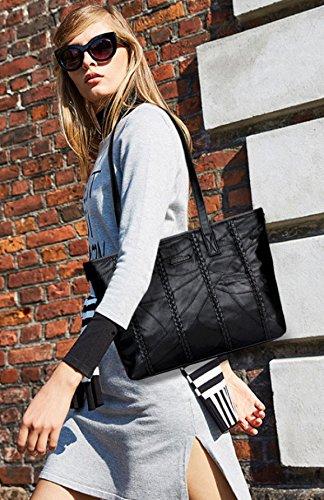 ZPFME Damen Handtasche Einfach Party Retro Damen Bankett Mode Kollokation Große Tasche Mode Schulter Rucksack Black