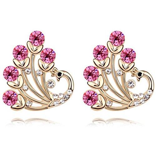 Erica Boucles d'oreilles Sparkling cristal autrichien pour les filles femmes cadeau parfait pink