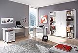 Arbeitszimmer komplett Büromöbel Komplettset in Weiß mit großem Schreibtisch