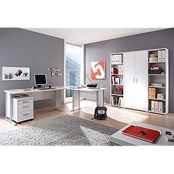 Arbeitszimmer komplett Büromöbel Komplettset in Weiß mit großem ...