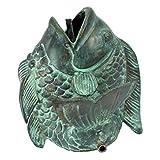Design Toscano Kleiner asiatischer tanzender Fisch, Wasserspeierfigur in Bronzeguss